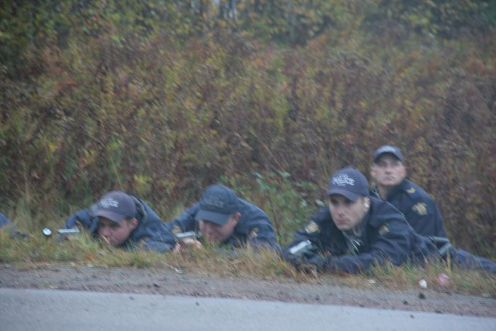 So far we have heard two days of testimony from police officers in the ditch adjacent to highway 134. From their vantage point, they would have been looking at Germaine Breau's backside. None have testified he pointed a gun. [Photo: Miles Howe]