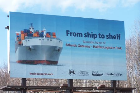 An billboard in Halifax advertising the Atlantic Gateway, a project that critics say poses a serious threat to labour and environmental rights.