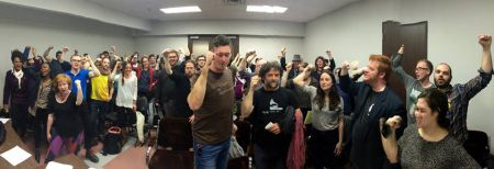 Determined activists at last night's launch of a new anti-austerity coalition in Halifax. Photo Tony Tracy, facebook