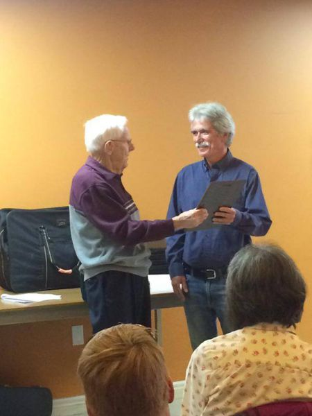 Paul O'Hara (right) receiving the Metro Non Profit Housing Association's Williamson Award earlier this month from the hands of John Williamson himself.  After 35 years of with the North End Community Health Centre Paul will retire at the end of the month. Photo Facebook