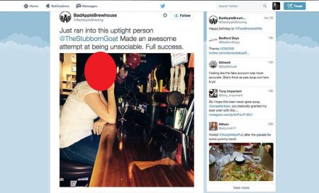 "Picture of the woman, posted by Jeff Saunders to the company's Twitter account. In the tweets he called the woman ""unsociable"", ""uptight"" and a ""bitch."""