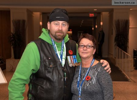 Veteran Dennis Minogue and Veterans Affairs caseworker Brenda Leblanc [Photo: Trevor Beckerson]