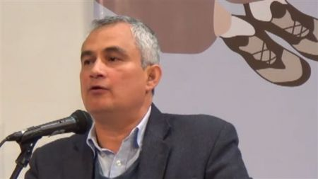 Trade unionist and lawyer Francisco Ramirez Cuellar has survived eight assassination attempts in Colombia. He recently visited the Maritimes to inform unions, pensioners and the power companies about their complicity in the unrest in Colombia. [Photo: Youtube]