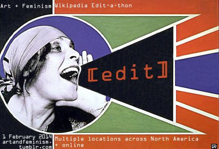 Art + Feminism Wikipedia Edit-a-thon event header, posted by Jaqueline Mabey