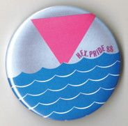 Halifax Pride 88 button. Now considered the first Halifax Pride Parade, it was a protest march rather than the festive parade of more recent years (Photo courtesy of Chris Aucoin).