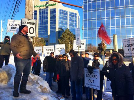 While a tentative agreement was in the works many Haligonians showed their support for the locked out Herald workers during a solidarity rally held this morning in front of the Herald Building on Joe Howe Avenue. Photo Tony Tracy, facebook