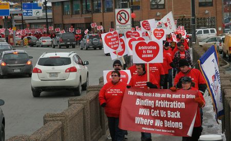 Valentine's Day march by ATU Local 508 (Miles Howe photo).