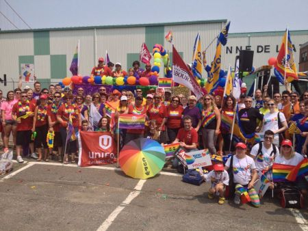The Nova Scotia Federation of Labour contingent at Halifax Pride 2014. A video produced by union-hating Egg Films has union members and sympathizers very upset.  Halifax Pride and Labour have a shared history going back to the eighties, when the parade was still a march. Photo Tony Tracy