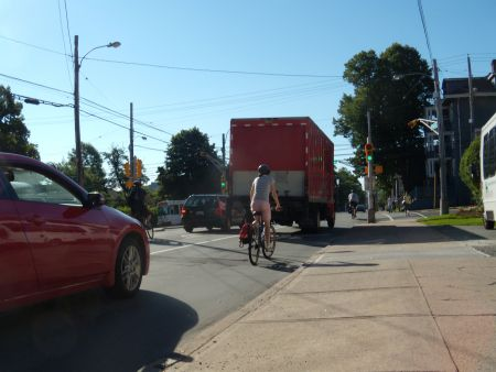 Cyclists battle cars for space on HRM streets (photo: Ben Sichel)