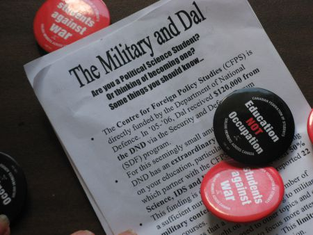 The Student Coalition Against War argues that any course that fulfills the security and defence content requirement should make its connections to the military explicit in course calendars.  Photo: Jane Kirby