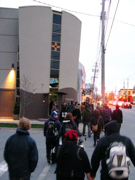 The 'Walk and Talk' traverses Agricola St.  Photo: Felix Kannemann