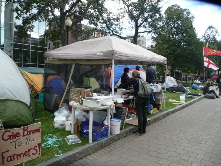 Free food is being provided by Food Not Bombs.