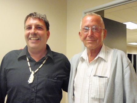 Kirk Arsenault and Daniel Paul after the motion to change the name of Cornwallis Junior High passed.