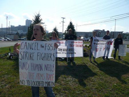 Anti-war activist Tamara Lorincz says spending $16 billion on fighter jets is a crime.  Photo: Hillary Lindsay