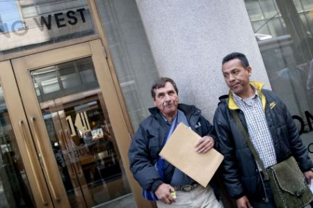 Amador (R) with Guatemalan activist Feliciano Orellana outside the Goldcorp AGM in 2010. (Photo: Allan Lissner)