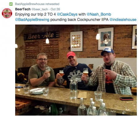 "Jeff Saunders, owner of Bad Apple Brewhouse, making the ""shocker"" gesture. Photo Twitter"