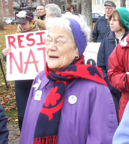 Veteran peace activist Betty Peterson