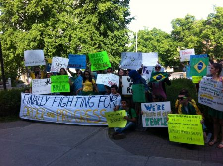 Protesters gathered in Halifax in solidarity with Brazilian students and worker.  Photo Jon Grant