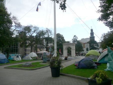 Over 20 tents are spread out around Parade Square on day two of the occupation.