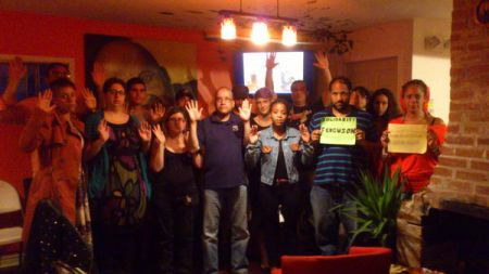 Solidarity with Ferguson late last week at Kwacha House, Dutch Village Road.  Photo Twitter