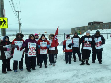 Staff of Town Daycare in Glace Bay, members of Unifor Local 4600, are walking the picket line. Their employer offered zero increase over three years, and that was not acceptable. Photo Twitter