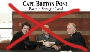 The Cape Breton Post distorted the facts in order to discredit the Zero Tuition campaign launched last week at CBU by students union president Brendan Ellis (left), faculty association president Scott Stewart (centre) and university president David Wheeler (right).
