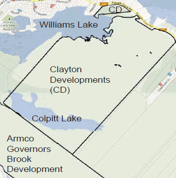 Map showing Clayton Developments land parcels along Purcell's Cove Road (Williams Lake Conservation Company)