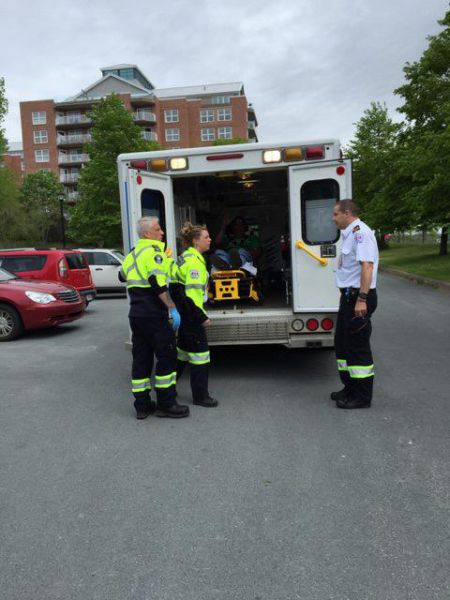 Yesterday a striking Halifax Water picketer was hit by an Irving-owned truck and taken by ambulance to the Cobequid Centre. Photo Twitter