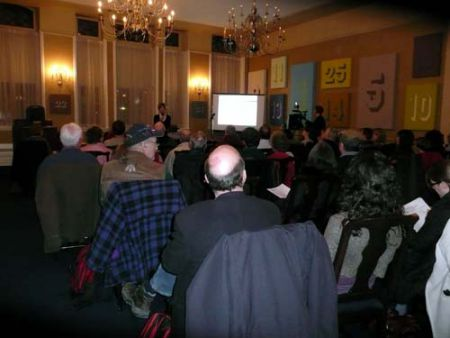 About 100 people gathered at City Hall to voice their opinions about the prospect of backyard coops.  Photo: Jessica Ross