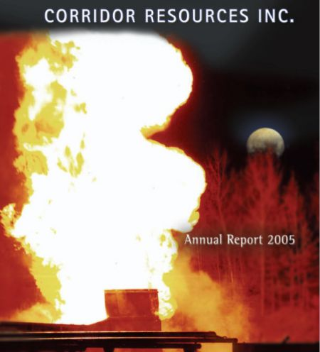 An explosion from drilling is pictured on the Corridor Resources annual report to investors, 2005.