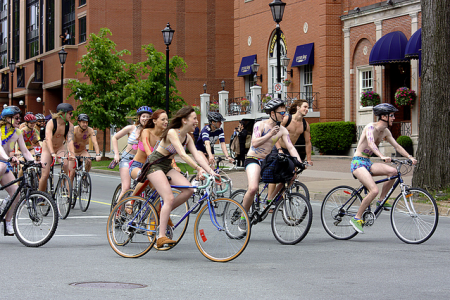 Halifax cyclists take part in the World Naked Bike Ride. (Photo by Glenn Euloth on Flickr)