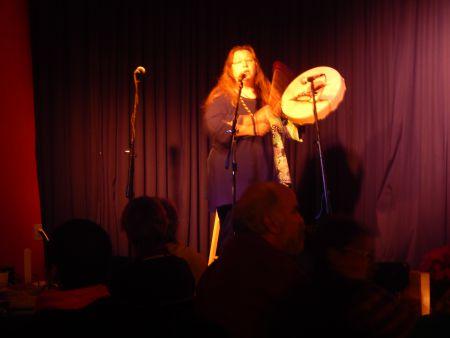 Cathy Martin's Mi'kmaq drumming kicked off the rally Saturday night at the Company House on Gottingen Street.