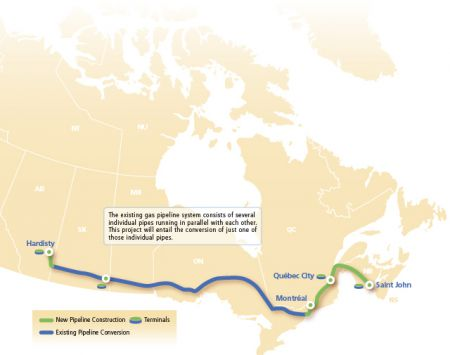 "Proposed pipeline conversion and expansion. TransCanada says this route won't be finalized until they ""have assessed and incorporated input from numerous stakeholders, including First Nation and Métis communities, landowners, local communities and provincial and federal governments"" (Courtesy of TransCanada)"
