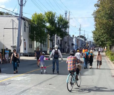 Halifax local residents walk, roller blade and cycle on Agricola Street during an open streets event to promote sustainable transportation in Halifax. Photo by Erica Butler.