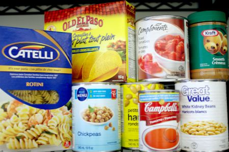 Food on the shelf at the Dalhousie Food Bank. Rising tuition fees and increasing cost of living are forcing Nova Scotia students to turn to food banks. 'I work full time all summer I barely scratch the surface of those costs.' Photo contributed