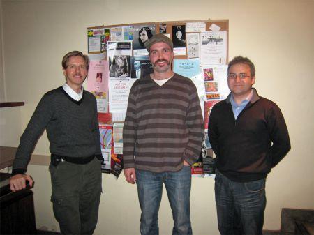L/R - Fair Vote NS organizers Raymond Taavel, Derek Simon, Fair Vote Canada Vice President Andy Blair