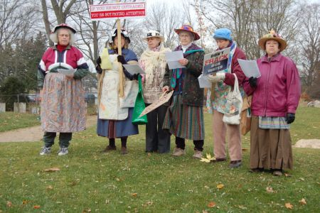 The Raging Grannies were a hit with their Anti-Fracking song, sung to the melody of I'se the B'ye. They also came back and ended the speakers corner part of the rally.