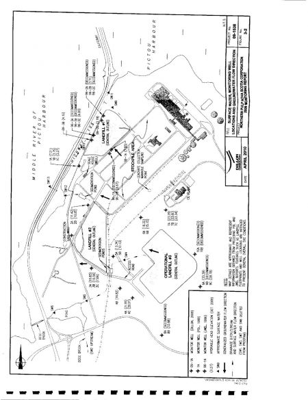 Position of wells, landfills and surface water collection stations at the Abercrombie Point site.