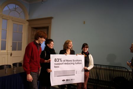 CFS activists pose with the results of the public opinion polling