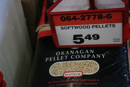 Okanagan Brand wood pellets, from West Kelowna, are now available at selected Canadian Tire stores in Halifax. This, after tens of thousands of tons of locally-produced wood pellets were exported to Belgium and beyond. [Photo: Miles Howe]