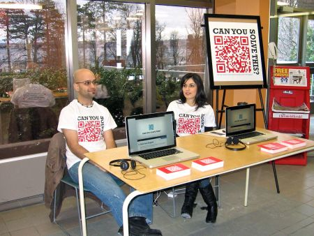 Campaign coordinator Emad Talisman and volunteer Pegah Atbin man the Can You Solve This? station at Mount Saint Vincent University (Natascia Lypny photo).
