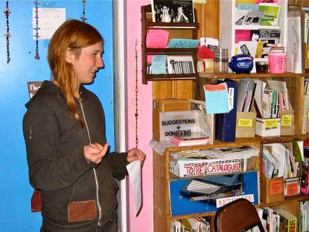 Capp Larsen conducts a photocopier tutorial in the Anchor Zine Library (Natascia Lypny photo).