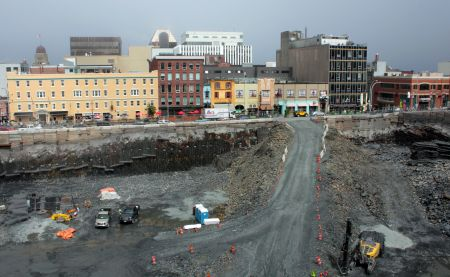 Dexter Construction has been blasting rock at the future site of the Nova Centre since January. (Photo by Hilary Beaumont)