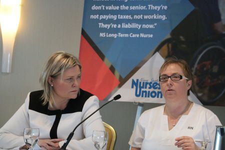 "Janet Hazelton, president of the Nova Scotia Nurses Union, and Sheri Gallivan, a registered nurse, were among the panelists at the release of 'Broken Homes' a new report which highlights the ""crisis"" of long-term care in Nova Scotia. [Photo: Miles Howe]"