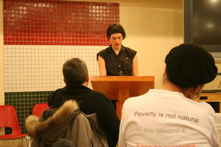 Elise Graham of the Canadian Federation of Students was one of many speakers commenting on the Federal budget during the Federal Budget Watch, an annual event in Halifax that sees activists get together to watch and discuss the federal budget.  (Robert Devet photo)