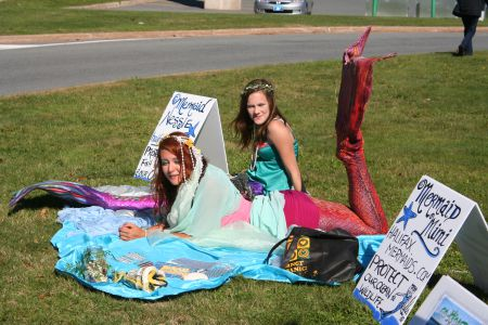 Mermaids too joined a rally to protest infill occurring at the Bedford Basin. Photo by Robert Devet