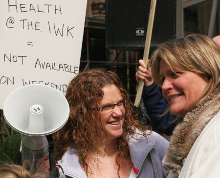Kelly Murphy at IWK Youth Workers Picket. [Photo: Miles Howe]