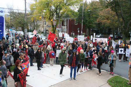 Hundreds rallied in Halifax in solidarity with the anti-shale gas protesters in Elsipogtog, New Brunswick.  All photos by Robert Devet