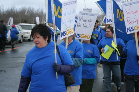 Joan Jessome, President of the NSGEU, at a rally in support of Home Support Workers in February 2014.  Photo Robert Devet