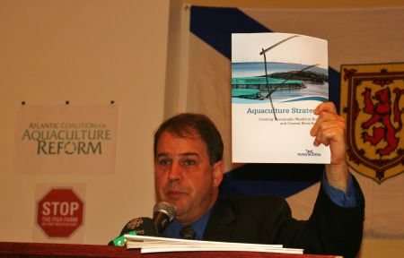 Raymond Plourde of the Ecology Action Centre gives a failing grade to Nova Scotia's Aquaculture Strategy. [Photo: Miles Howe]